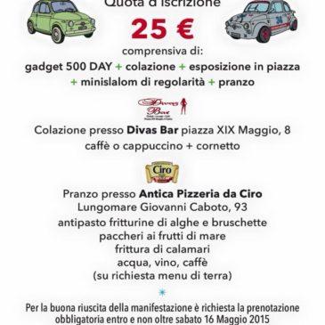 Gaeta Fiat 500 Day: la tua giornata in 500 con colazione e pranzo a solo 25€