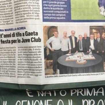 Juventus Club di Gaeta compie 30 anni: TuttoSport titola così.