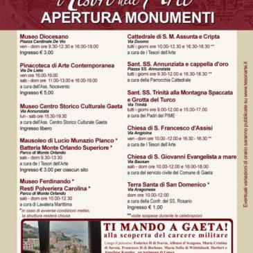 Musei e monumenti a Gaeta: ecco la programmazione di Aprile 2017