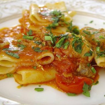 Ricette: Paccheri con scorfano e pomodorini