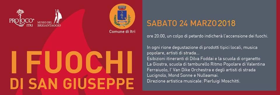 I fuochi di San Giuseppe di Itri (LT) rinviati al 24 marzo 2018. Ufficiale