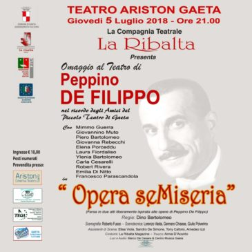 """Opera seMiseria"" omaggio a Peppino De Filippo in scena al Teatro Ariston"