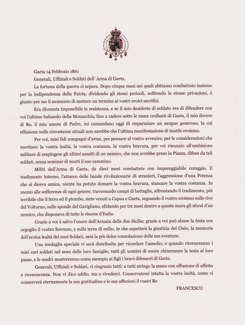 Francesco II Gaeta 14 febbraio 1861 Ordine