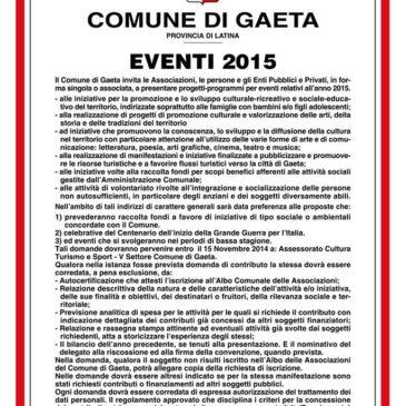 Gaeta: BANDO EVENTI 2015 – Scadenza 15 novembre 2014
