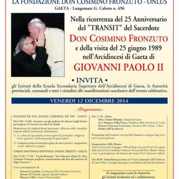 Gaeta Fondazione Fronzuto invita Venerdì 12 Dicembre