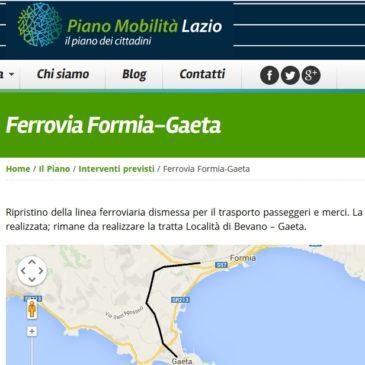 Ripristino Ferrovia Formia-Gaeta: sul  sito della Regione Lazio appare il Piano di Fattibilità