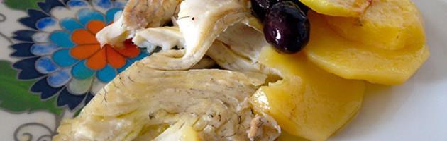 #Ricette Prodotti tipici di Gaeta: ROMBO CON OLIVE E PATATE