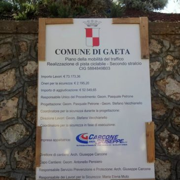 Gaeta pista ciclabile in Via Firenze: Iniziano i lavori