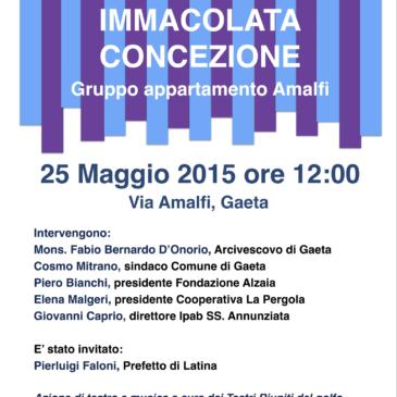 Gaeta: lunedì 25 maggio inaugurazione della casa famiglia in Via Amalfi