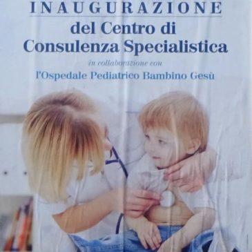 """Gaeta: Apre Centro di consulenza specialistica in accordo con """"Bambino Gesù"""" di Roma"""