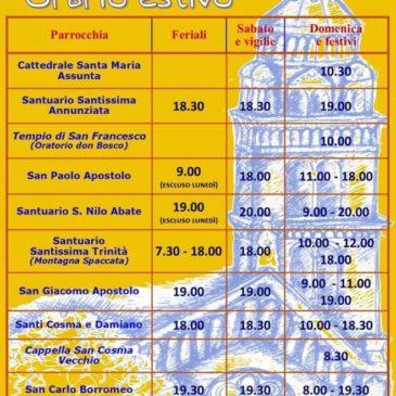 Gaeta: Orario Estivo 2015 Messe e Celebrazioni Eucaristiche
