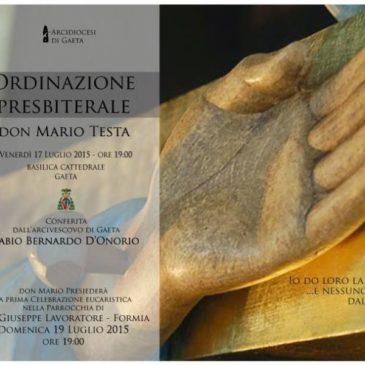 Gaeta: ordinazione presbiteriale di Don Mario Testa