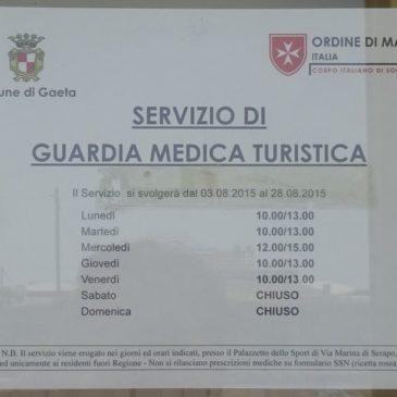 Gaeta: GUARDIA MEDICA TURISTICA 2015 DAL 03 AL 28 Agosto