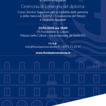 """Gaeta: 23 neo-diplomati dell'I.T.S. """"Fondazione G. Caboto"""" subito assunti da cinque armatori italiani"""