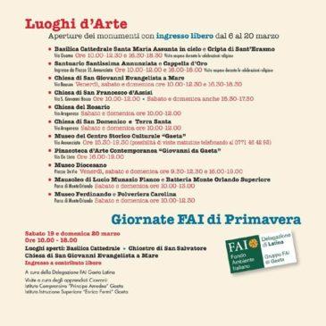 Guida di Gaeta: ecco tutti i Luoghi d'Arte e Monumenti aperti dal 6 al 21 Marzo 2016