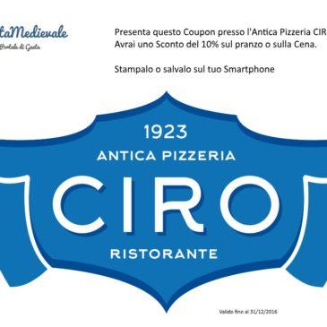 Antica Pizzeria CIRO & GaetaMedievale: Scarica sul tuo smartphone il Coupon di sconto immediato