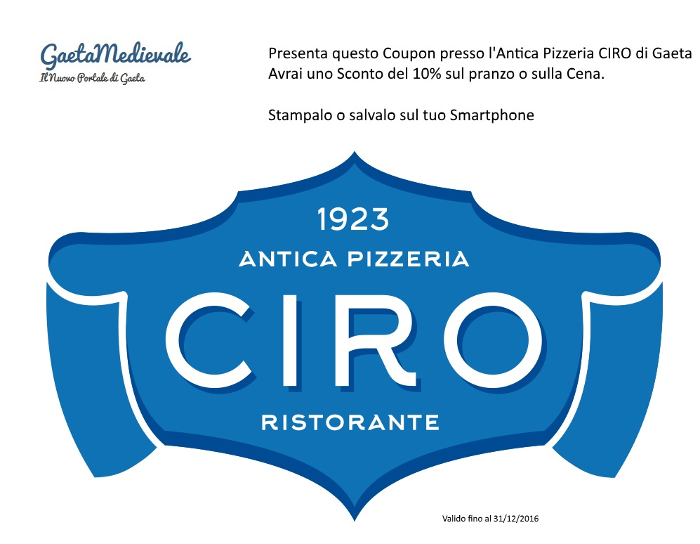 Coupon sconto antica pizzeria CIRO