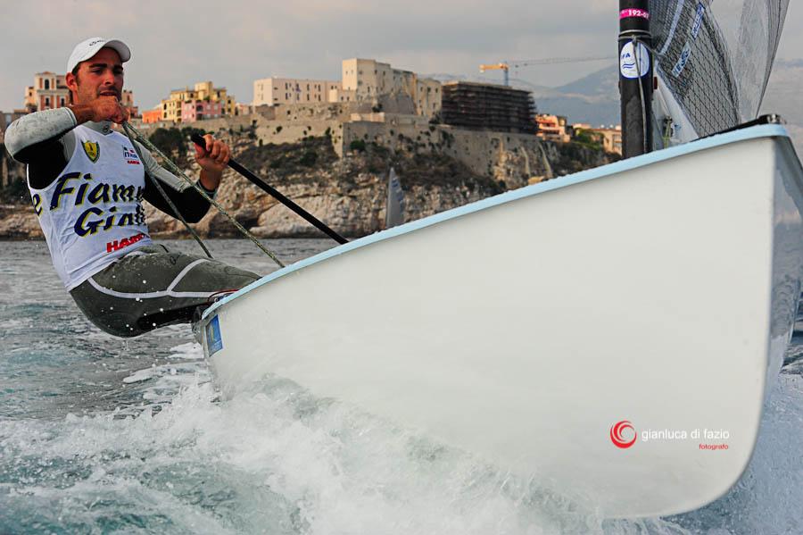 Filippo Baldassari in azione nelle acque di Gaeta