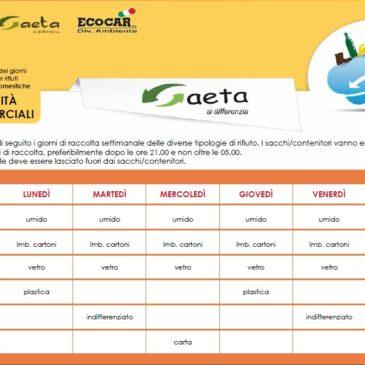 Raccolta differenziata 2017 a Gaeta: scarica calendario per attività commerciali e utenze domestiche