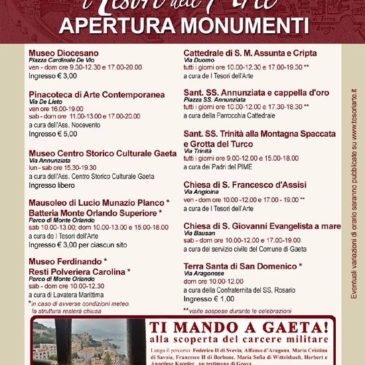Gaeta: Apertura Musei e Monumenti / Programma Maggio-Giugno 2017