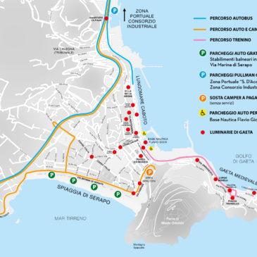 Luminarie di Gaeta 2017: parcheggi gratis, trenino, bus turistici, camper, ecco le info