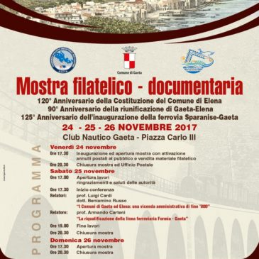 Gaeta: Questo weekend, Mostra Filatelico Documentaria